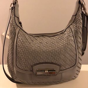 Coach grey leather crossbody bag
